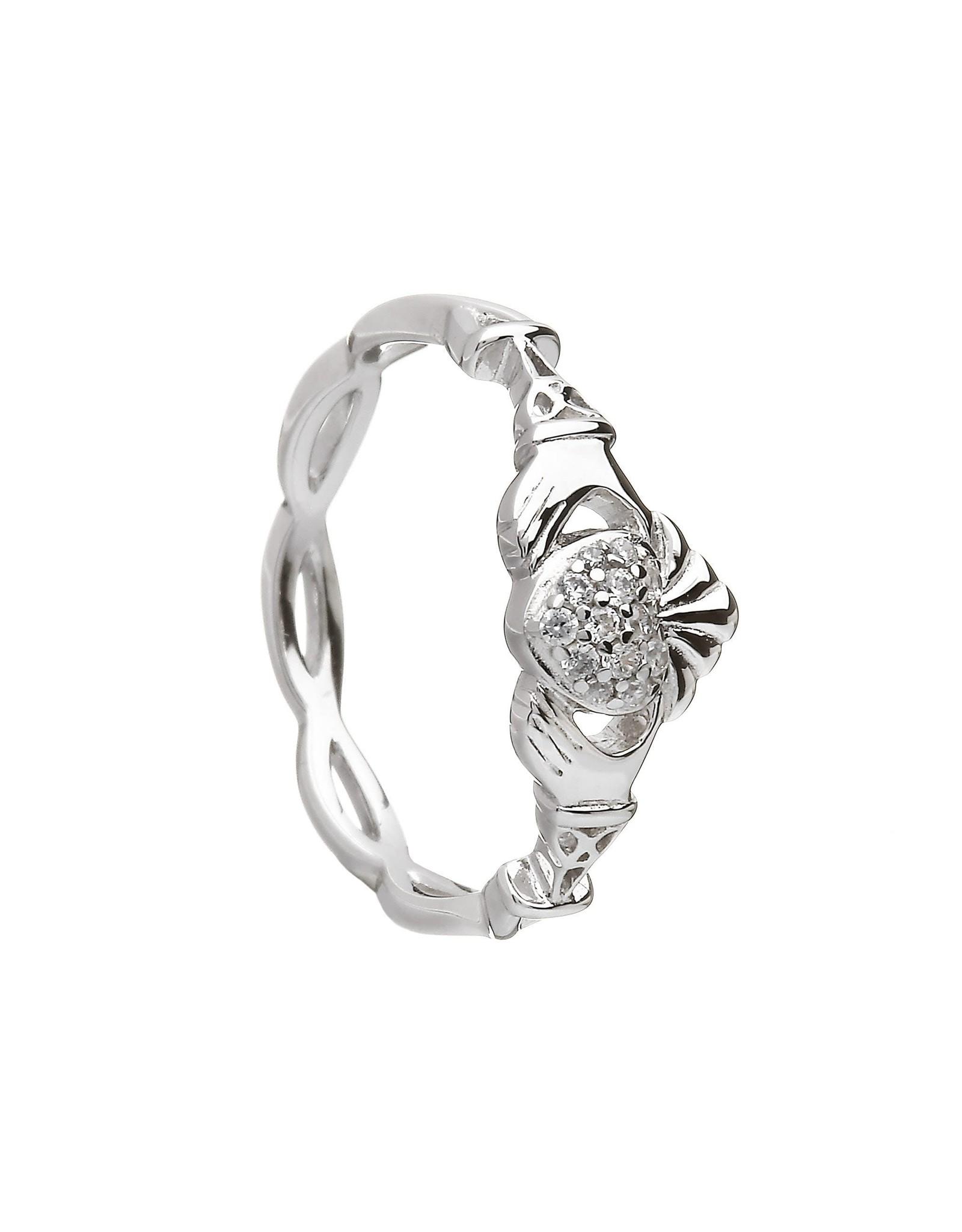 Boru Jewelry Sterling Silver Pave Set Claddagh Ring