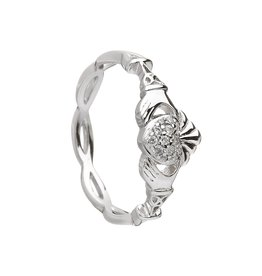 Boru Jewelry Silver Pave Set Claddagh Ring