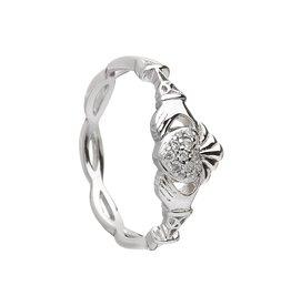 Boru Jewelry Silver Pave Set Claddagh Ring
