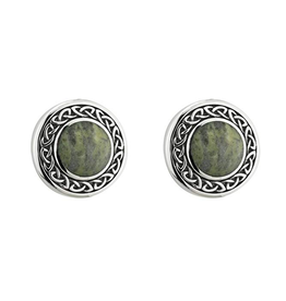Solvar Round Connemara Marble Celtic Earrings