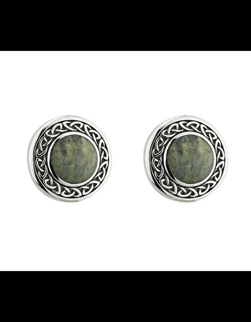 Solvar Round Connemara Marble Celtic Post Earrings