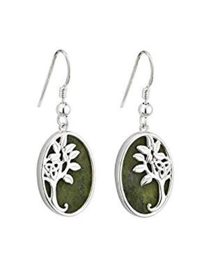 Solvar Silver Connemara Marble Tree of Life Earrings