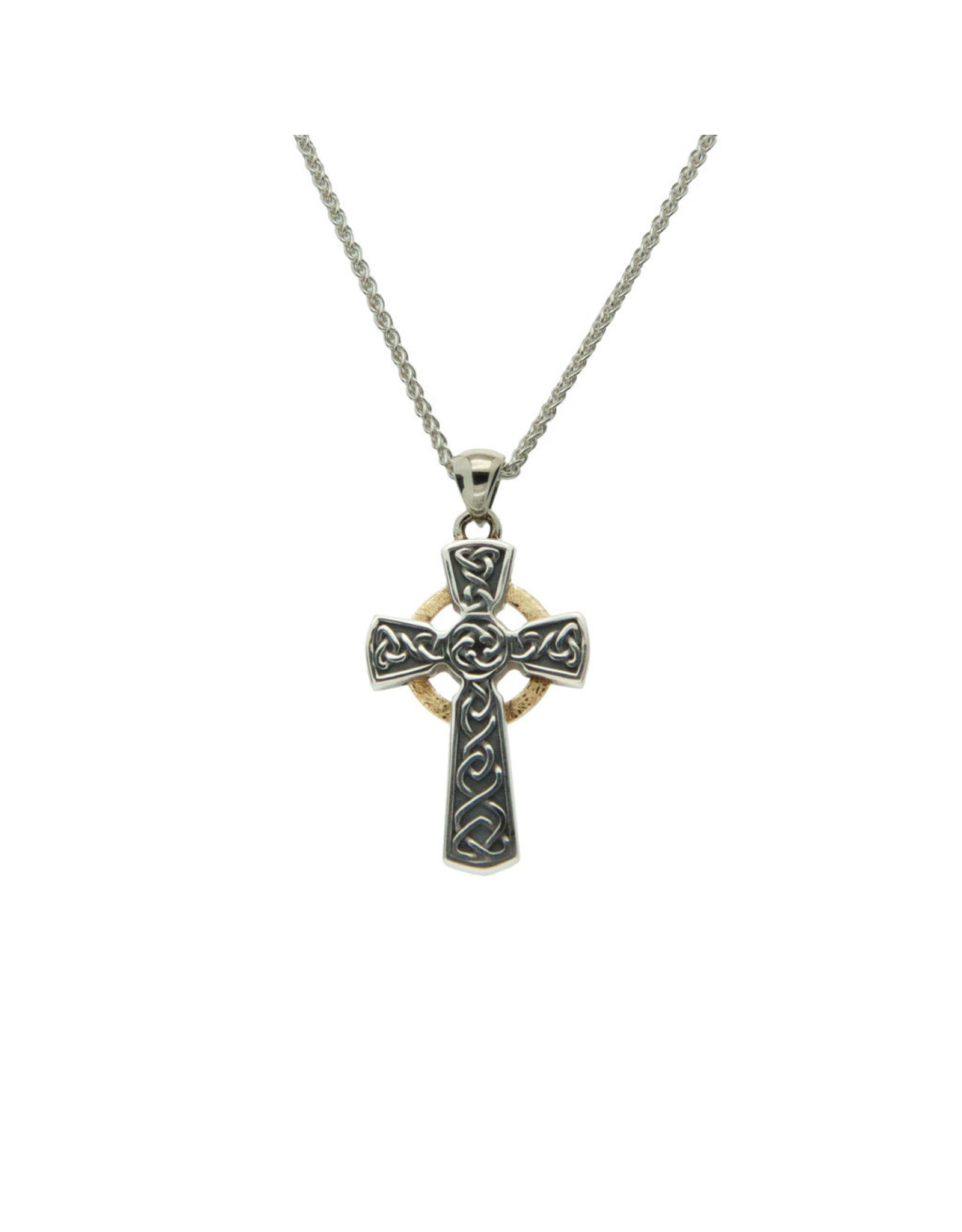 Keith Jack Oxidized Silver + 10k Gold Celtic Cross Small Pendant