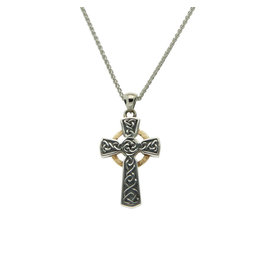 Keith Jack Oxidized Silver + 10k Celtic Cross Small Pendant