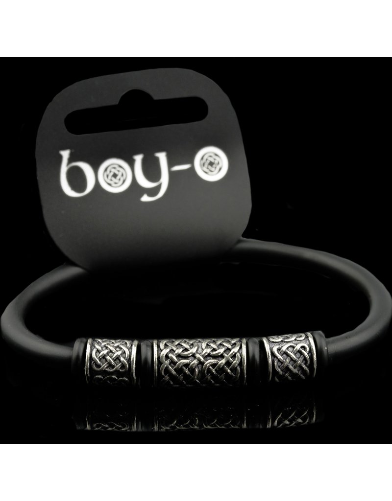 Black Dragon Crafts Boy-o  Celtic Pewter & Rubber Bangle