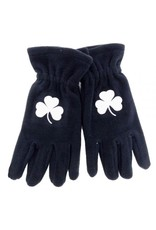 Donegal Bay Irish Gloves: Navy Fleece w/ Shamrock