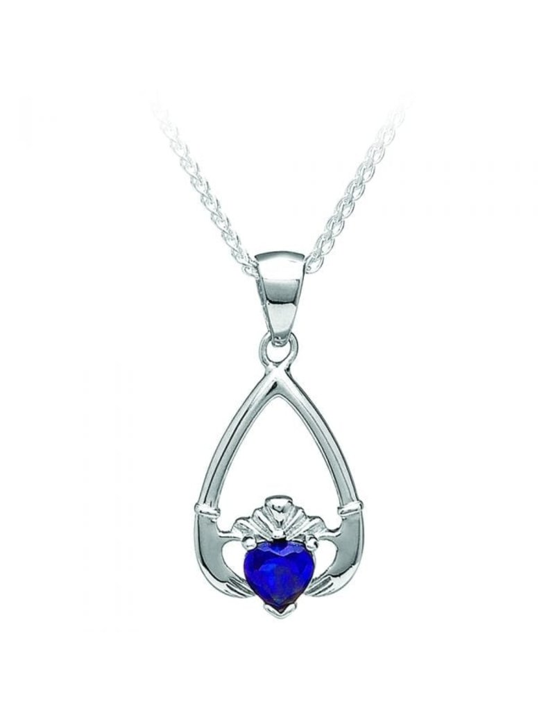 Boru Jewelry Birthstone Claddagh Necklace Sept Sapphire