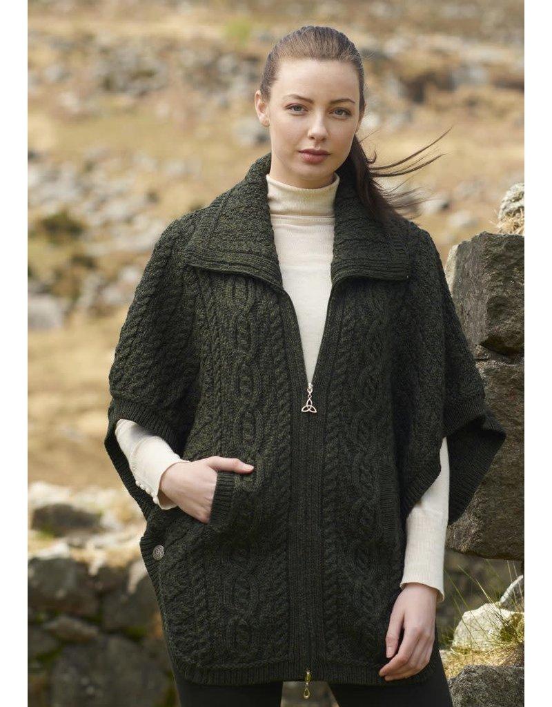 West End Knitwear Aran Batwing Jacket in Army Green