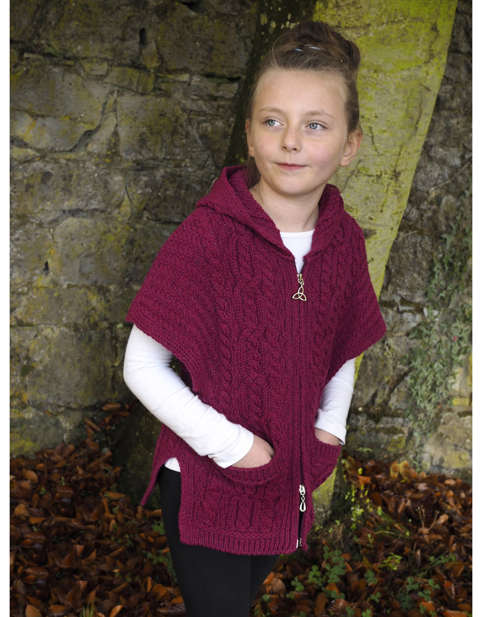 West End Knitwear Girls Aran Hooded Cape in Raspberry