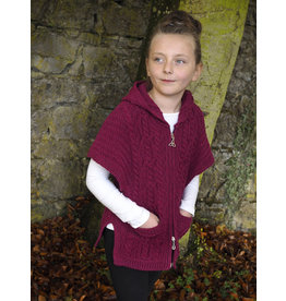 West End Knitwear Girls Hooded Cape in Raspberry