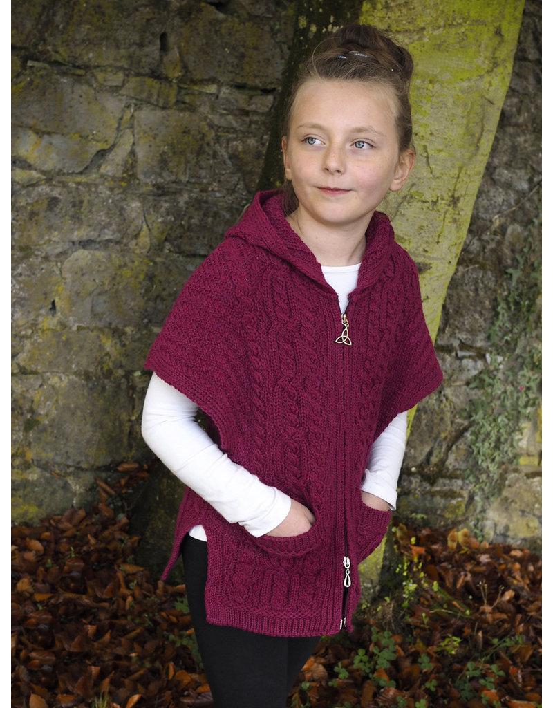 West End Knitwear Girls Aran Hooded Cape in Raspberry
