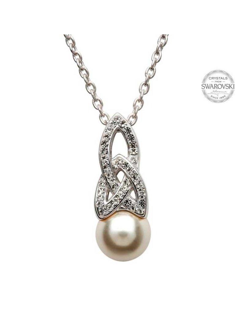 Shanore Silver Swarovski Trinity Pearl Necklace