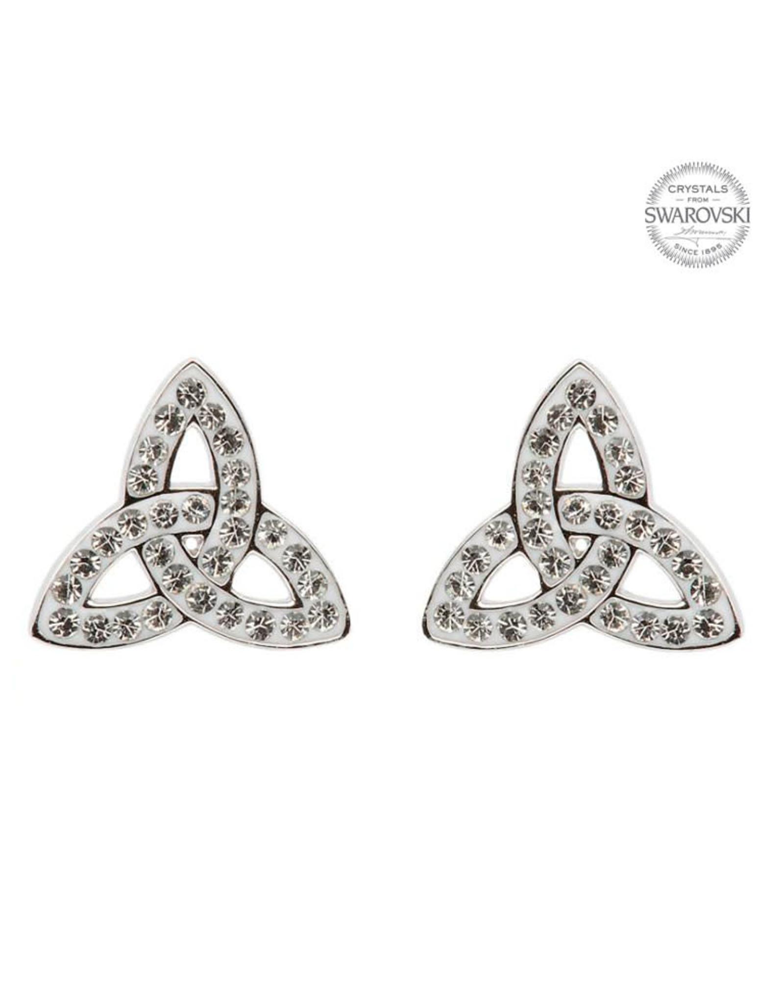 Shanore Silver Trinity Knot Stud Swarovski Earrings