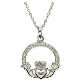 Shanore Silver Stone Set Claddagh Necklace