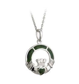 Solvar Silver Connemara Marble Claddagh Pendant