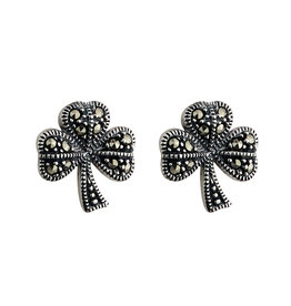 Solvar Silver Marcasite Shamrock Earrings