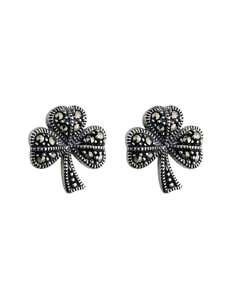 Solvar Silver Marcasite Shamrock Earrings
