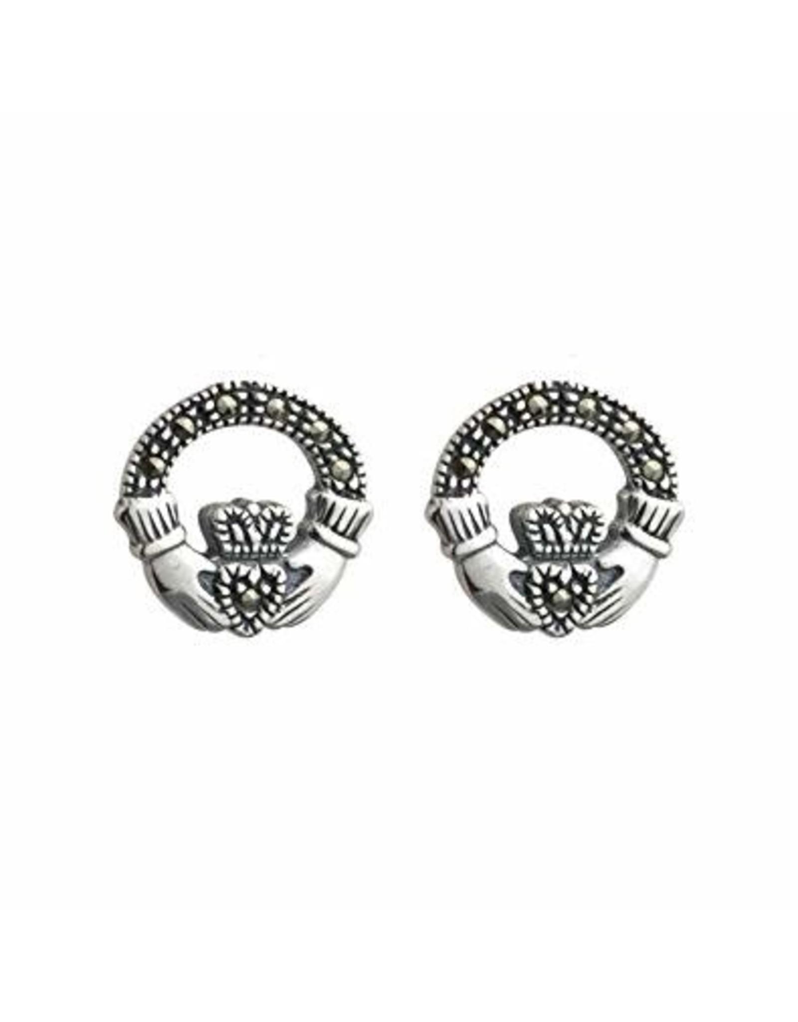 Solvar Silver Marcasite Claddagh Earrings