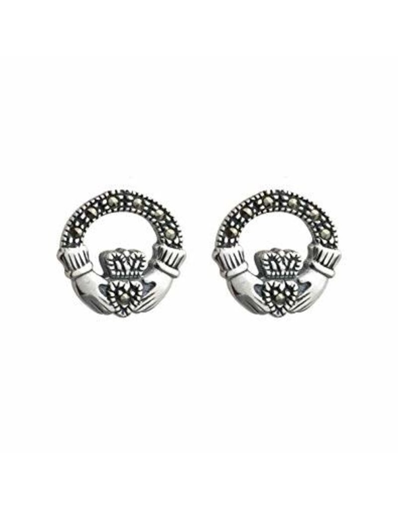 Solvar Silver Marcasite Claddagh Earrings