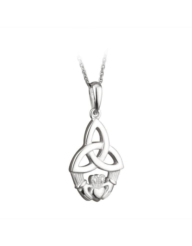 Solvar Silver Trinity Knot Claddagh Necklace