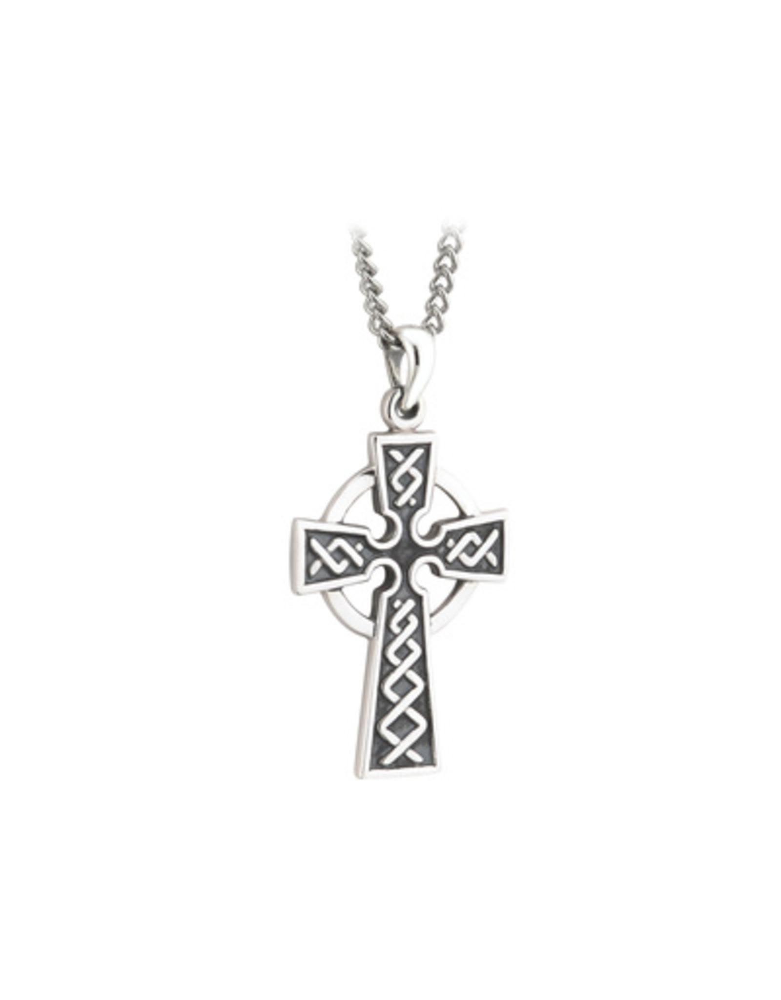 Solvar Oxidized Sterling Silver Celtic Cross on Steel Chain