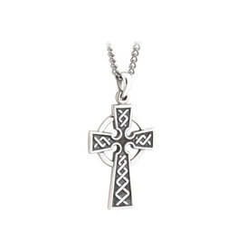 Solvar Oxidized Silver Celtic Cross on Steel Chain