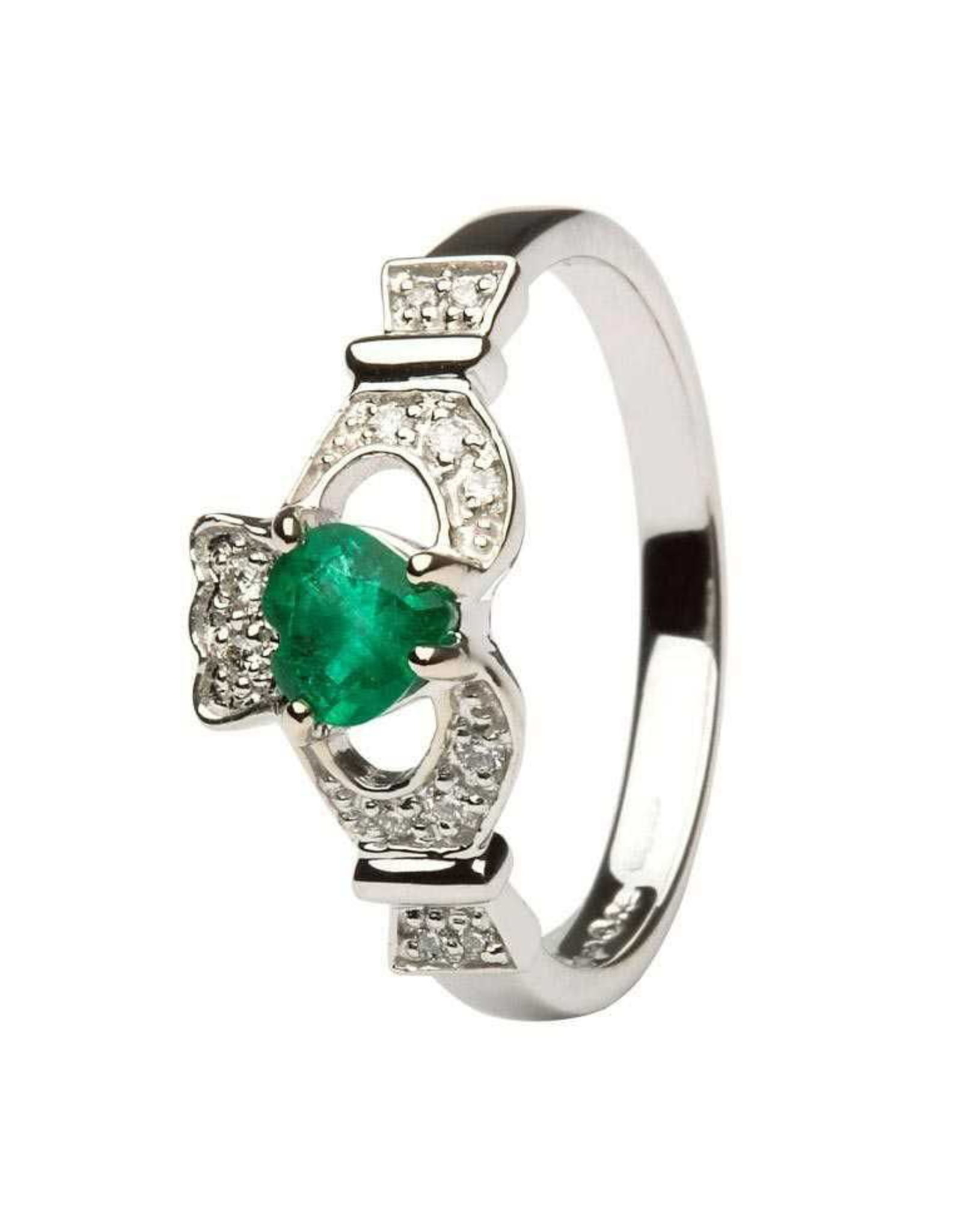 Shanore 14k Gold Claddagh Emerald + Diamond Ring