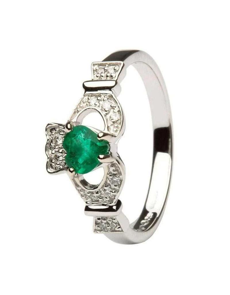 Shanore 14k Gold Claddagh Emerald + Diamond Ring