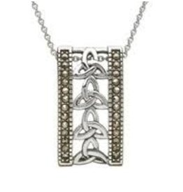 Anu Sterling Silver Marcasite Trinity Knot Necklace