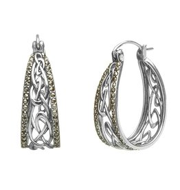 Anu Sterling Silver & Marcasite Celtic Hoop Earrings