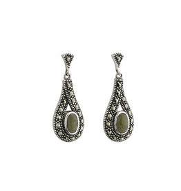Solvar Marble & Marcasite Post Dangle Earrings
