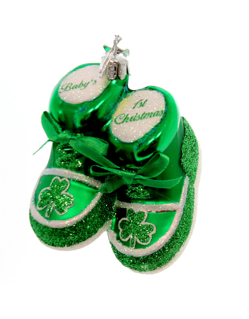Noble Gems Baby's 1st Christmas Ornament - Green Booties