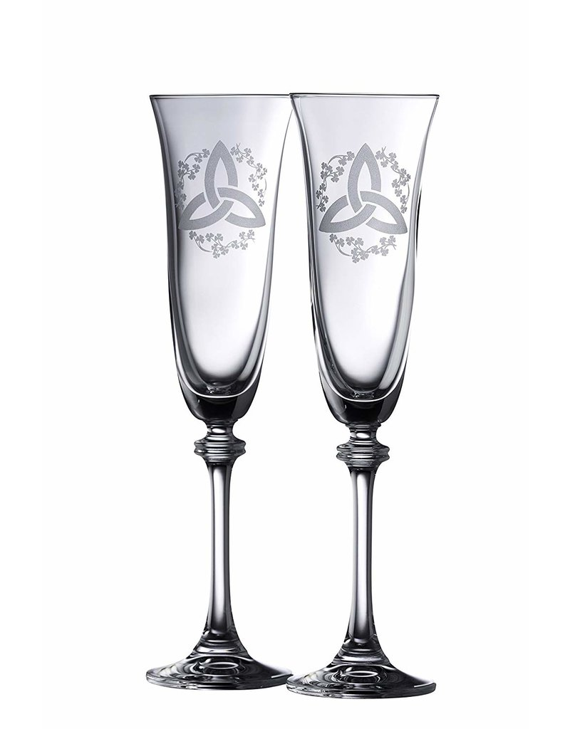 Galway Crystal Trinity Knot Liberty Flute Pair by Galway Crystal