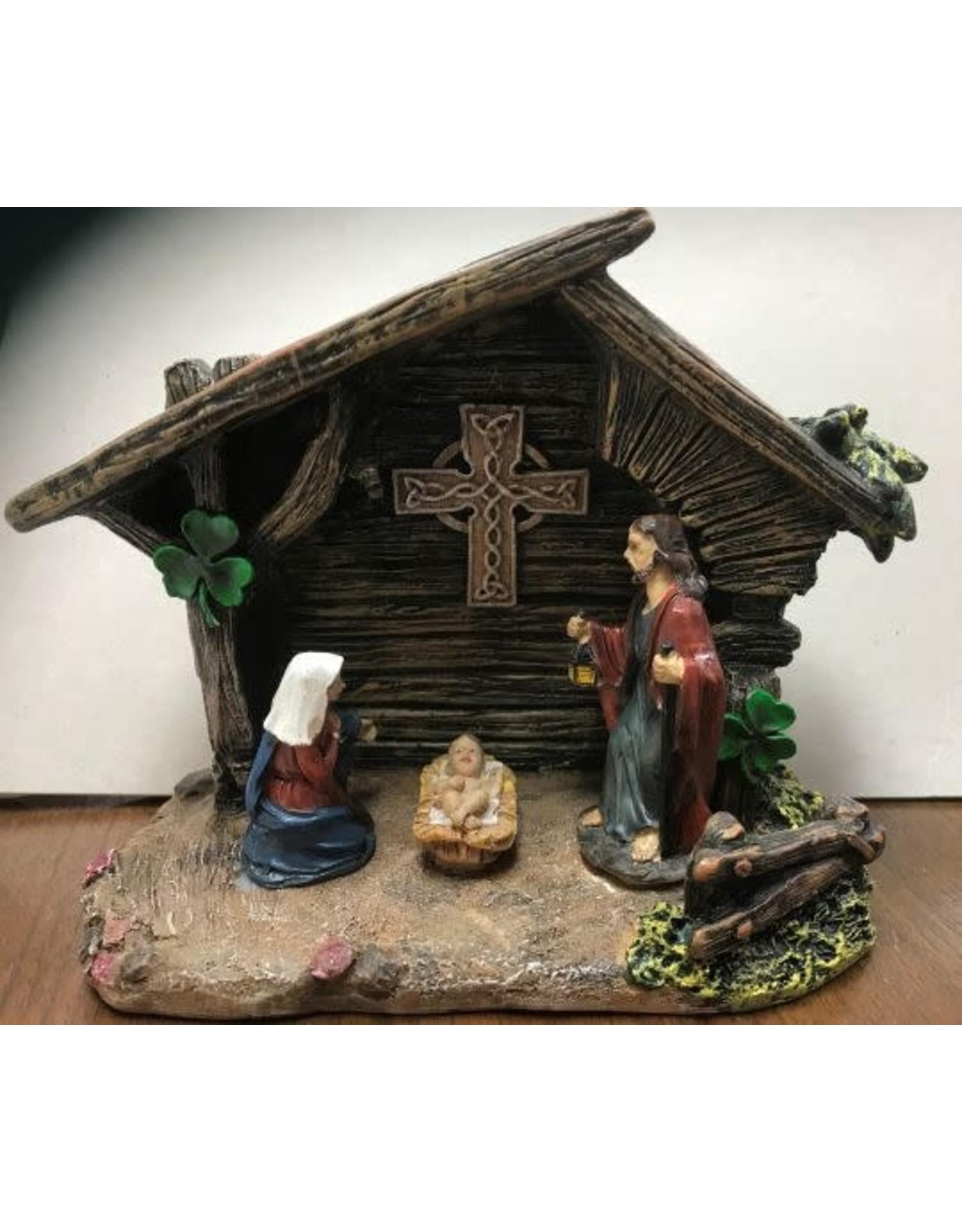 Bridgets of Erin Celtic Cross Nativity with LED Light