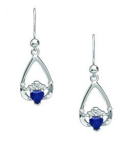 Boru Jewelry Teardrop Claddagh Earring with Sapphire