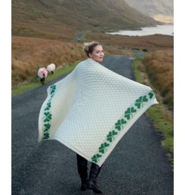 Aran Woollen Mills Aran Shamrock Throw Blanket