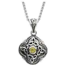 Shanore Celtic Tribal Trinity Necklace with Peridot