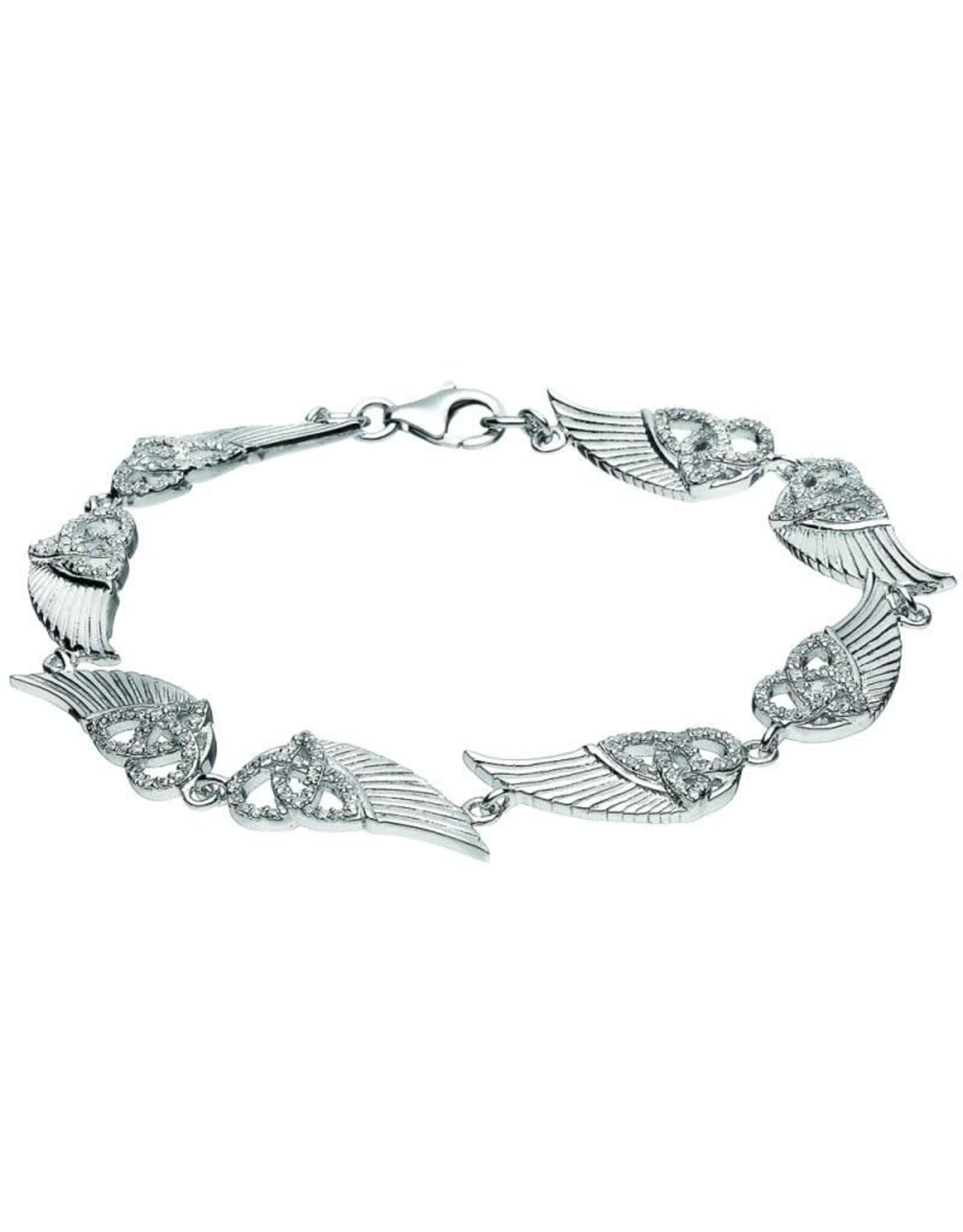 Boru Jewelry Sterling Silver Trinity Angel Wings Bracelet