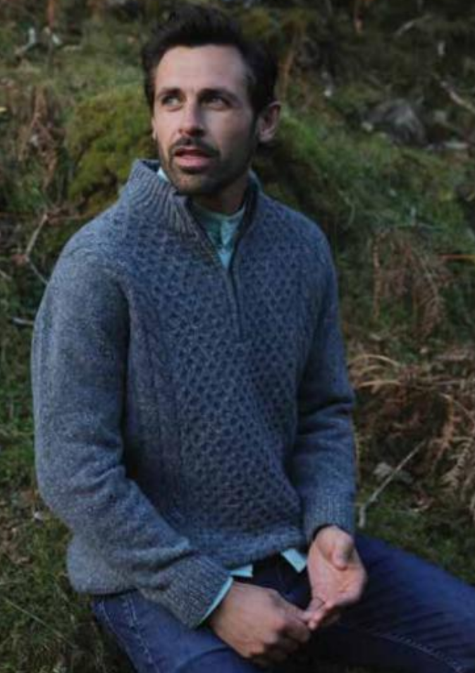 Luxury Wool Donegal Zip Sweater