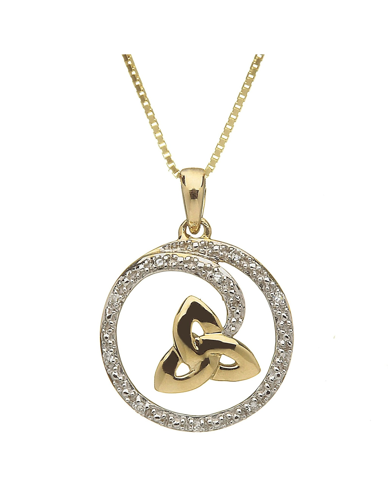 Shanore 10k Y Gold Trinity + Diamond Swirl Necklace