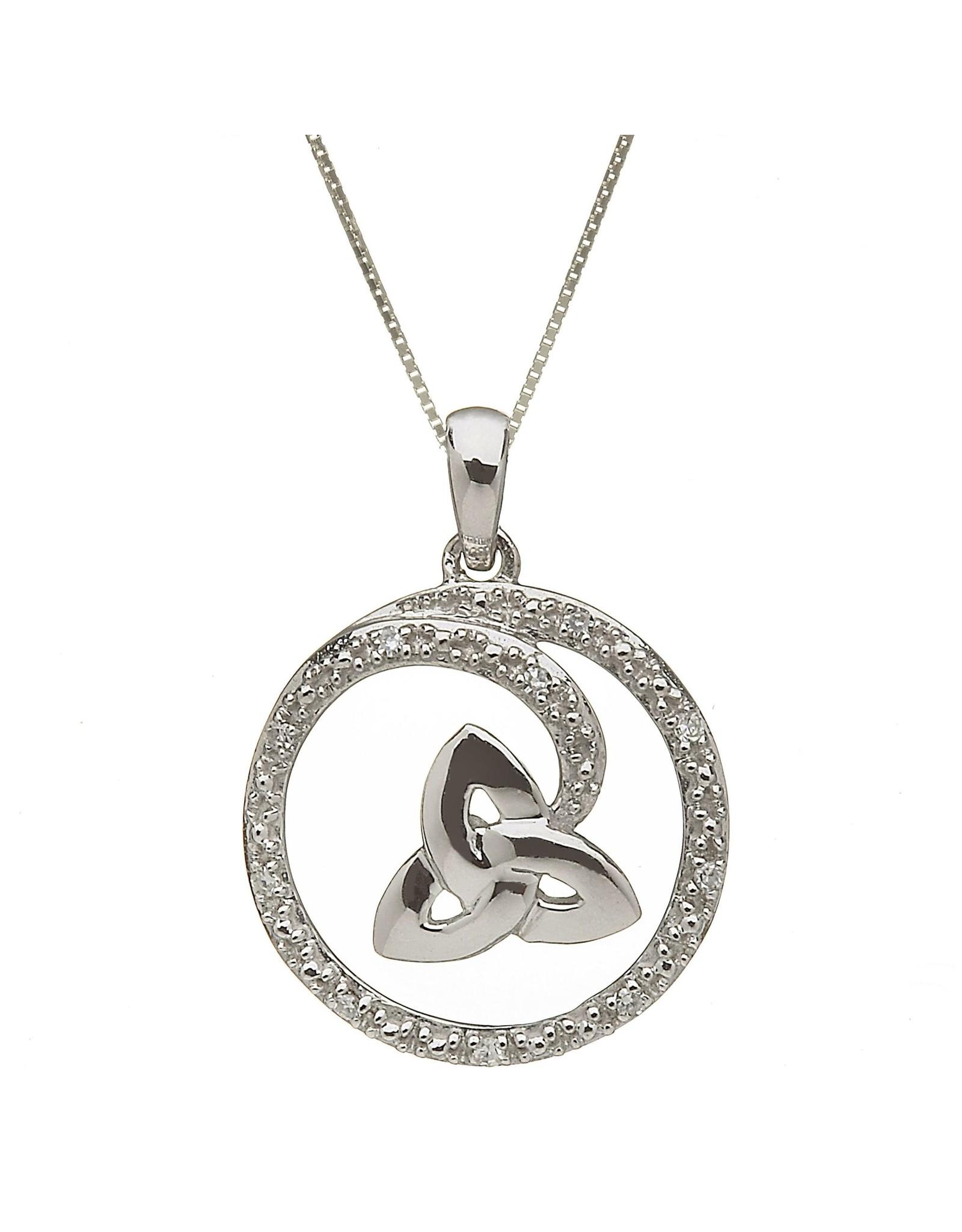 Shanore 10k White Gold Trinity + Diamond Swirl Necklace