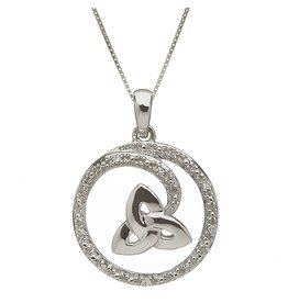 Shanore White Gold Trinity + Diamond Swirl Necklace