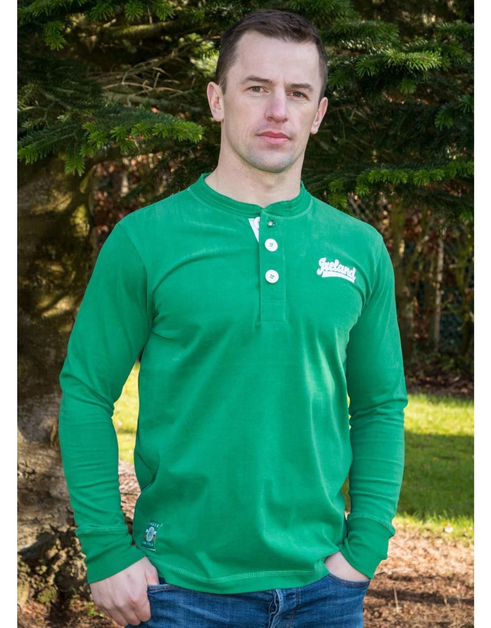 Retro Irish Ireland Green Henley Shirt