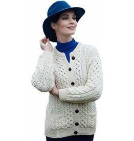 Aran Woollen Mills Ladies Aran Cardigan w/Pockets