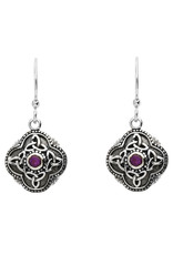 Shanore Silver Celtic Tribal + Trinity Earrings with Amethyst