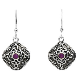 Shanore Celtic Tribal + Trinity Earrings with Amethyst
