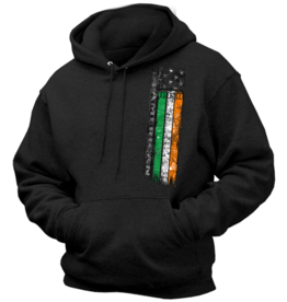 Coastal Tees Irish American Flag Black Hoodie