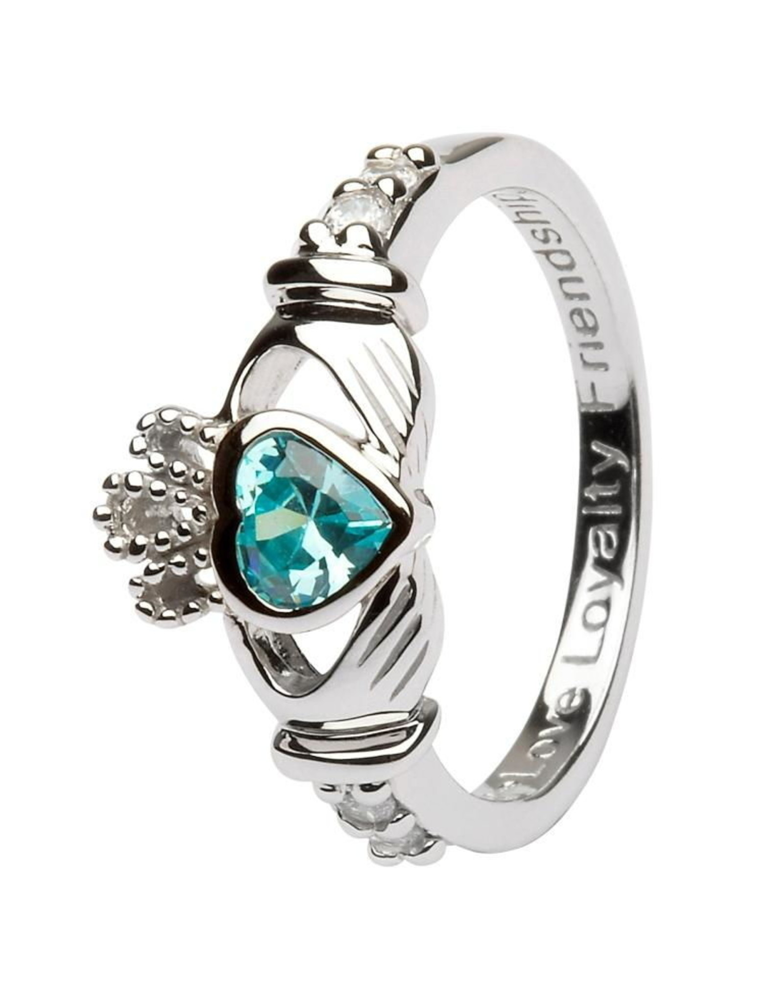 Shanore March Claddagh Birthstone Ring