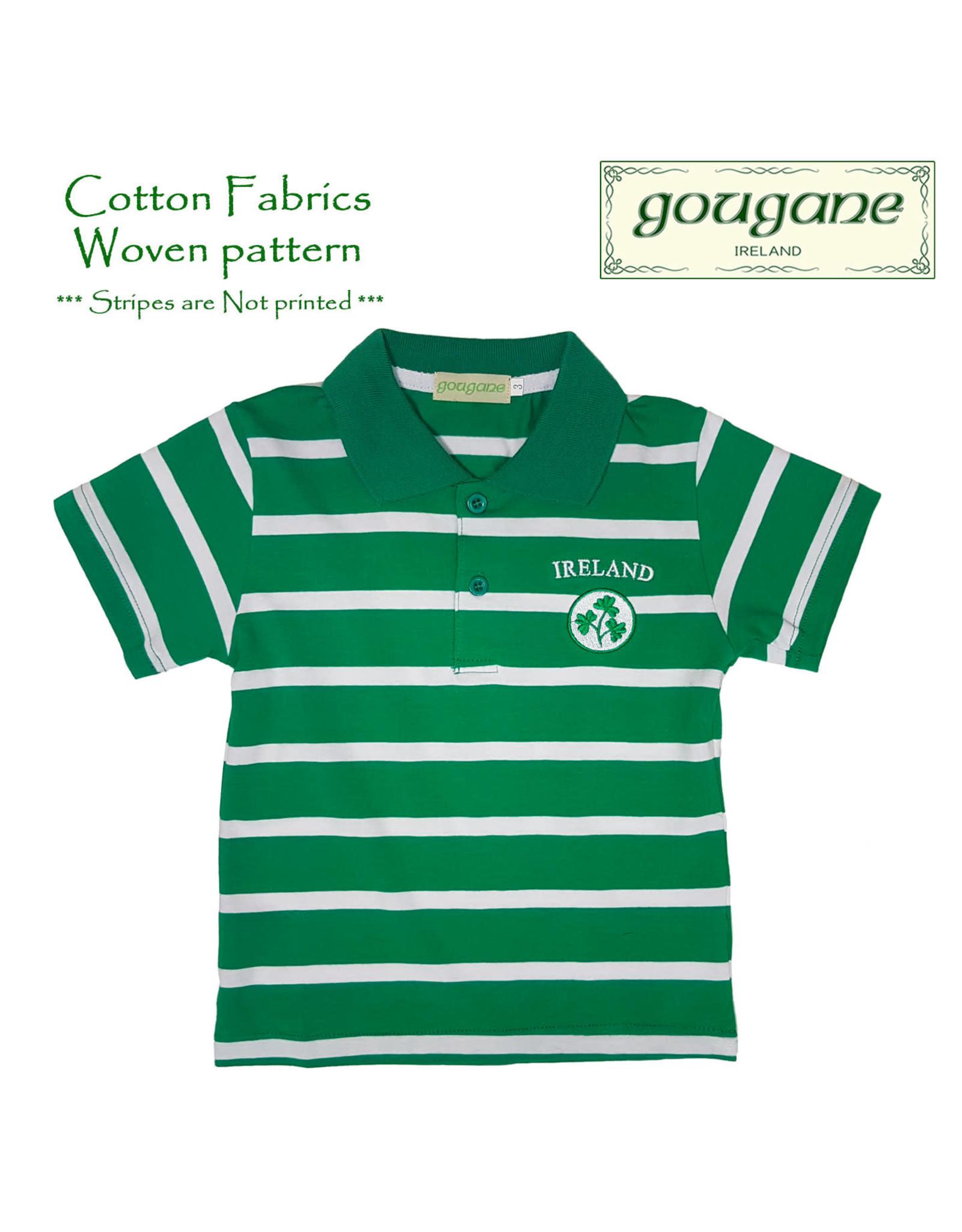Gougane Ireland + Shamrocks Short Sleeve Striped Polo