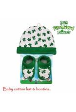 Irish Farmyard Friends Baby Shamrock Hat and Booties Set